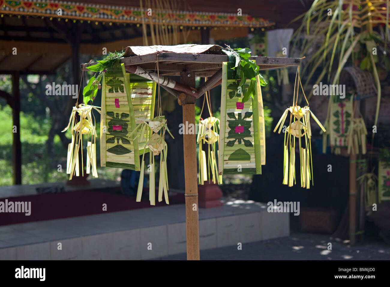 Offer decoration in front of temple in Sanur, Bali, Indonesia - Stock Image