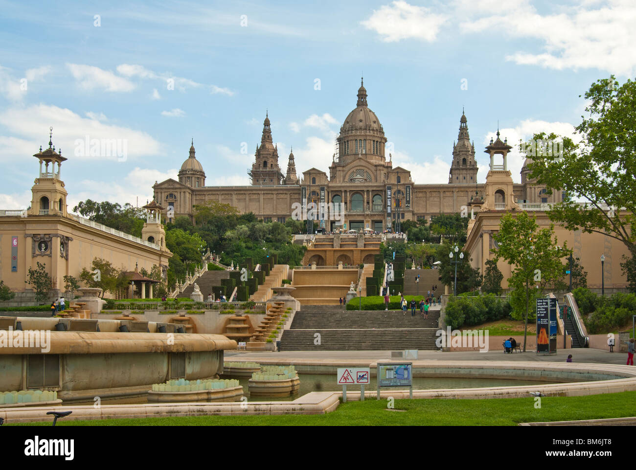 National Palace Montjuic and Montjuic Park, Barcelona - Stock Image