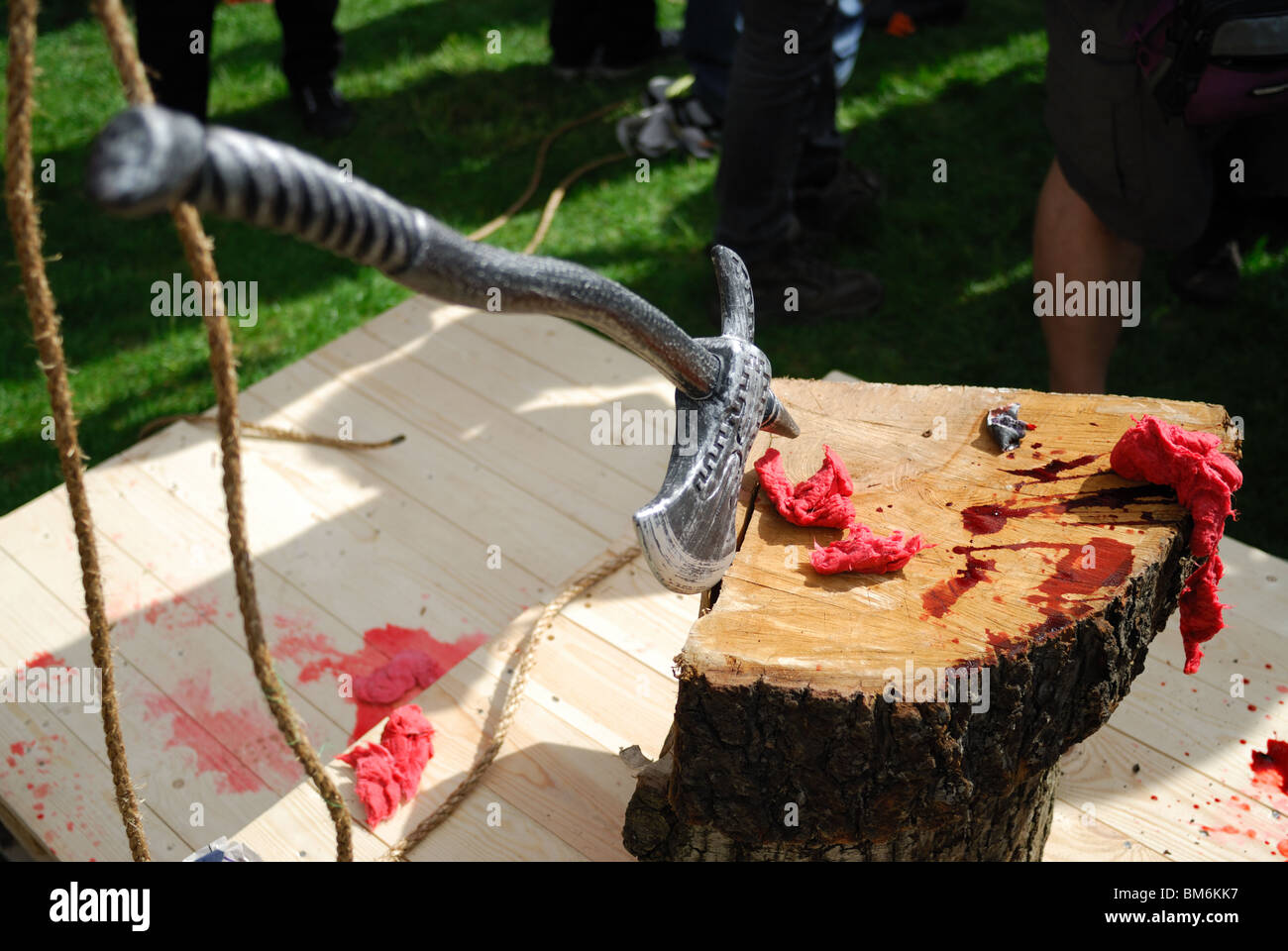 The executioner's axe lies in a block of wood which was used to behead the effigy of Gordon Brown on May day. - Stock Image