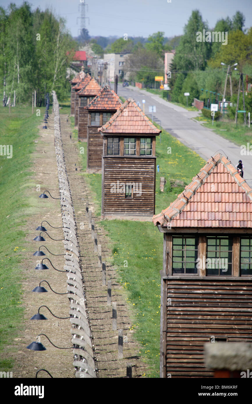 Guard turrets in Auschwitz II (Birkenau) nazi concentration camp in Poland - Stock Image