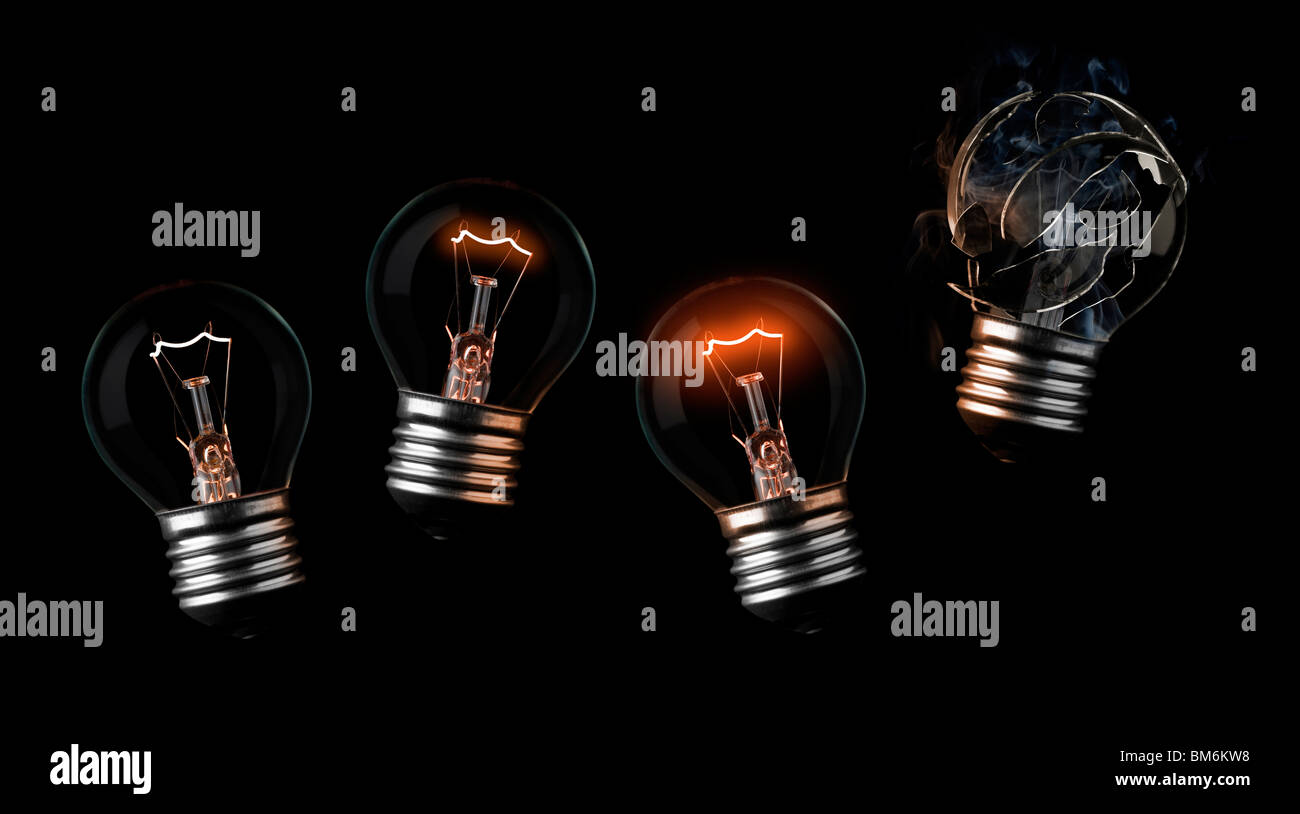 sequence of light bulbs ending in a burn out - Stock Image