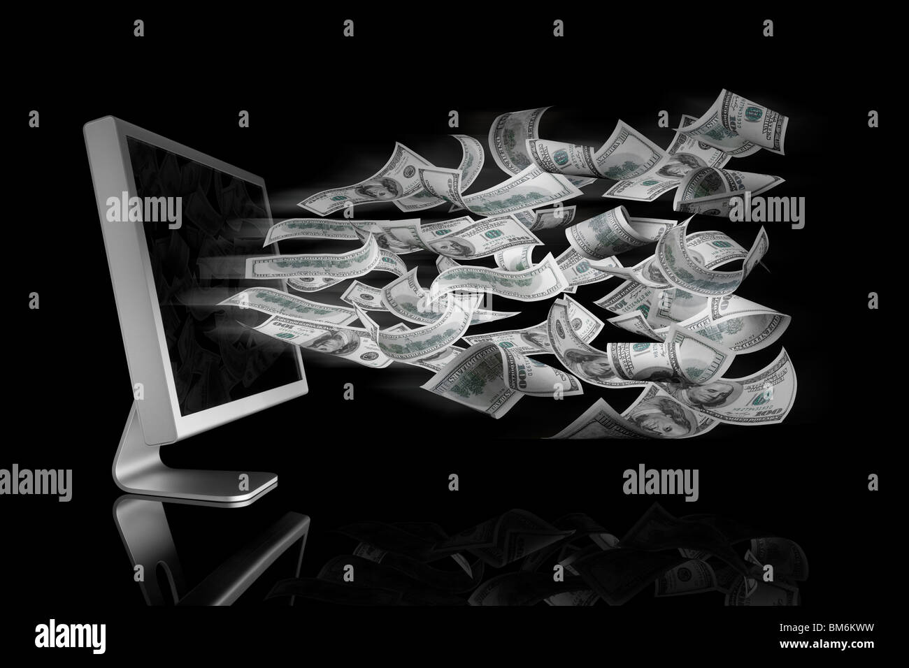 100 Dollar bills coming out a computer screen - Stock Image