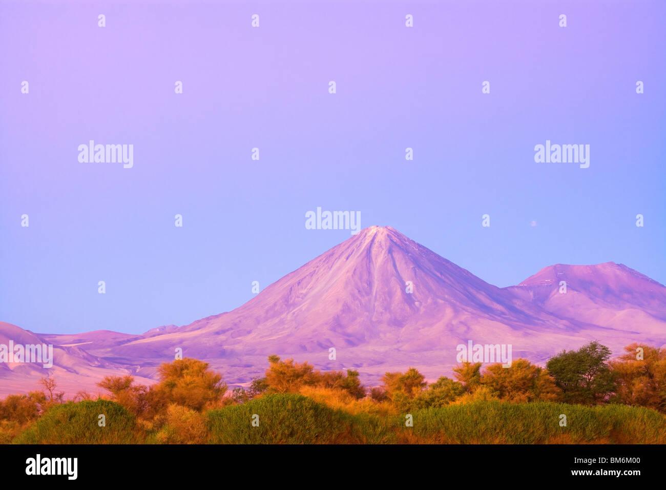 Licancabur volcano and the oasis of San Pedro de Atacama, Atacama Desert, Chile, South America - Stock Image