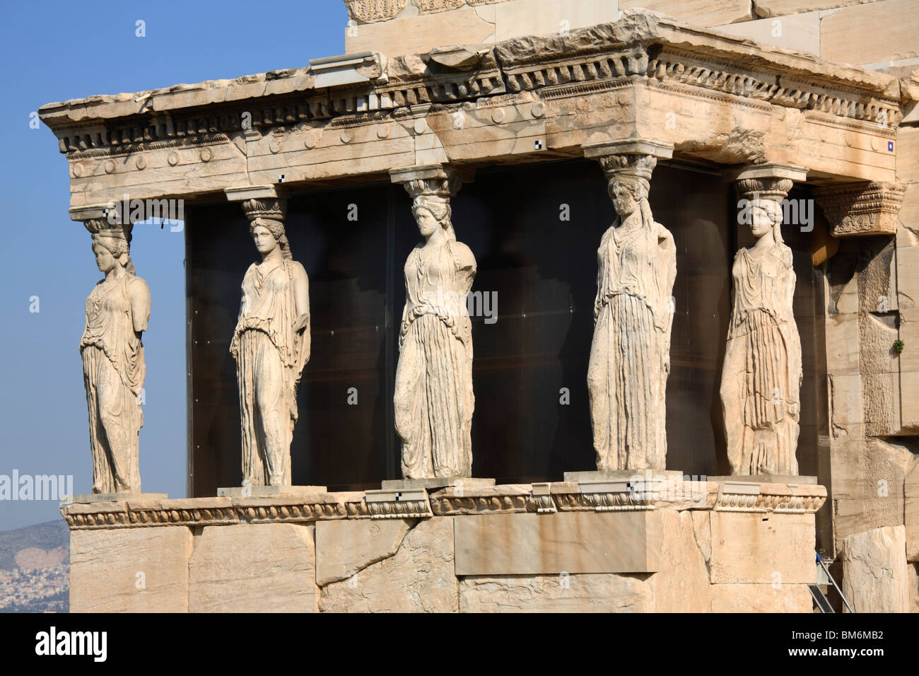 The Caryatid Porch of the Erechtheion, Athens, Greece - Stock Image
