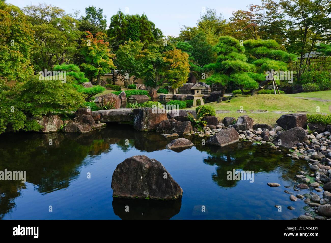 Koko-en Garden, Tsukiyama-chisen-no-niwa, Himeji, Hyogo Prefecture, Kansai region, Honshu Island, Japan - Stock Image