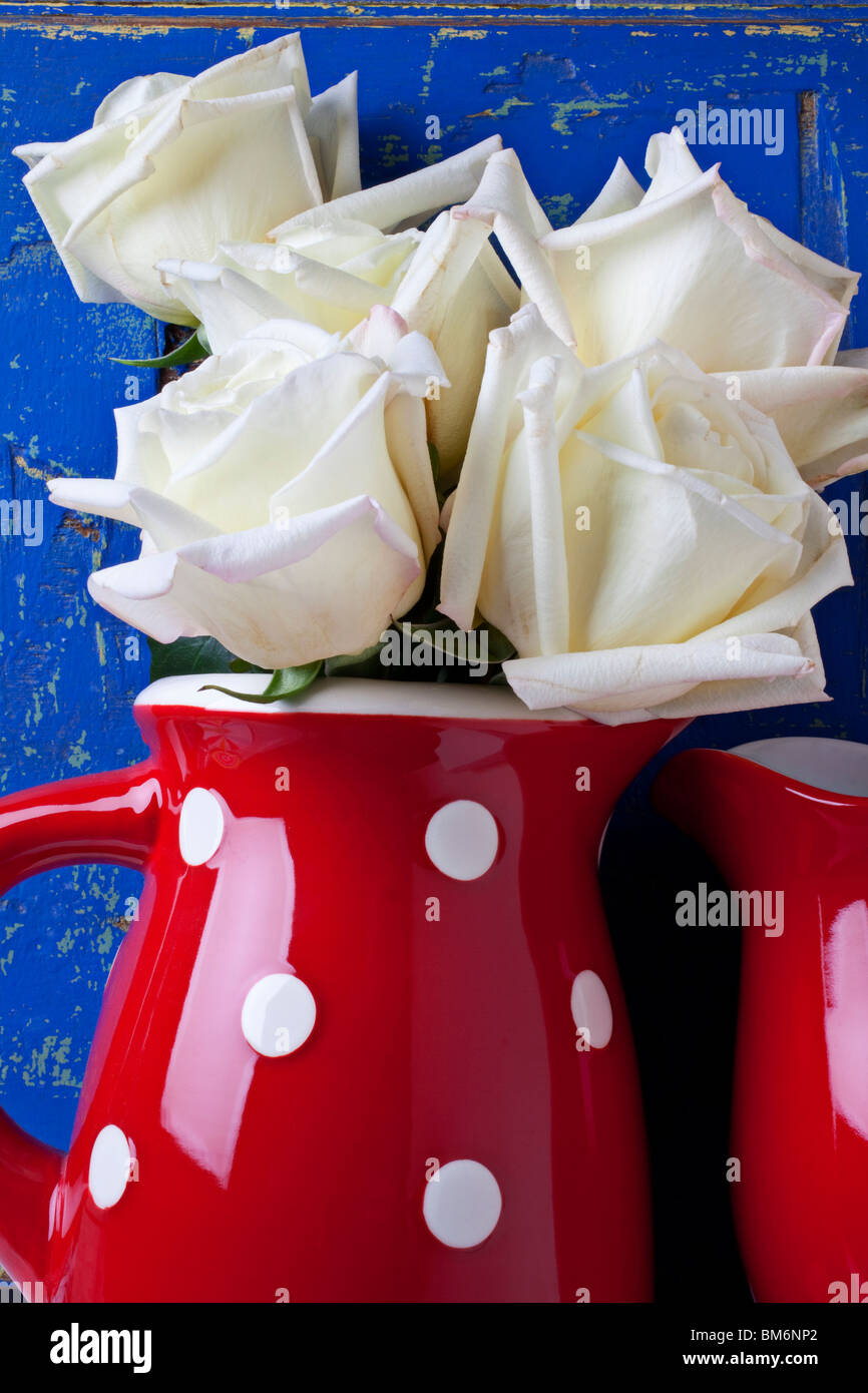 White roses in red pitcher - Stock Image