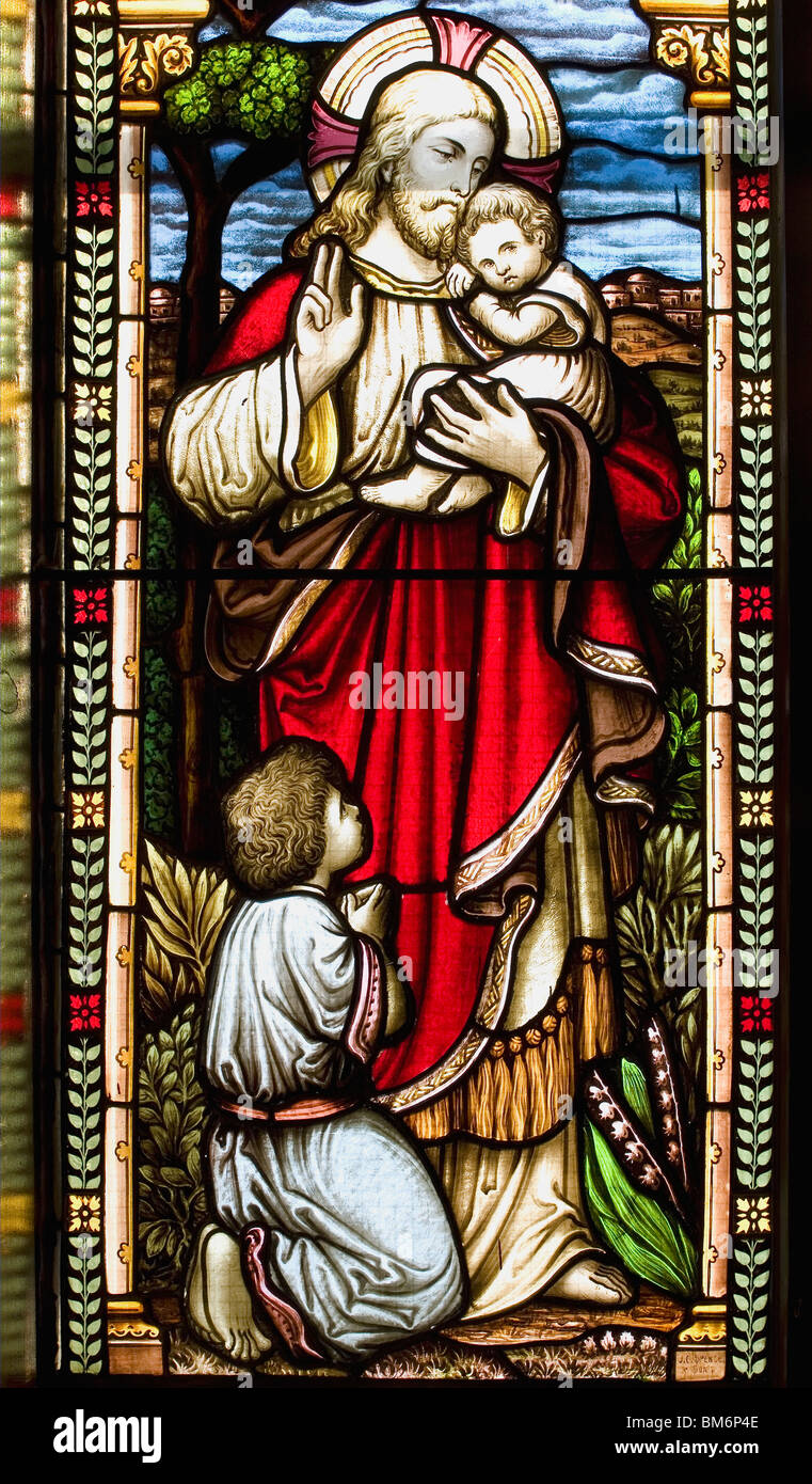 Stained Glass Window Panel - Stock Image