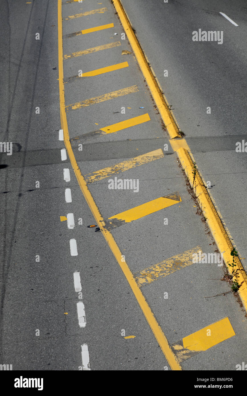 Street Yellow Line for background - Stock Image