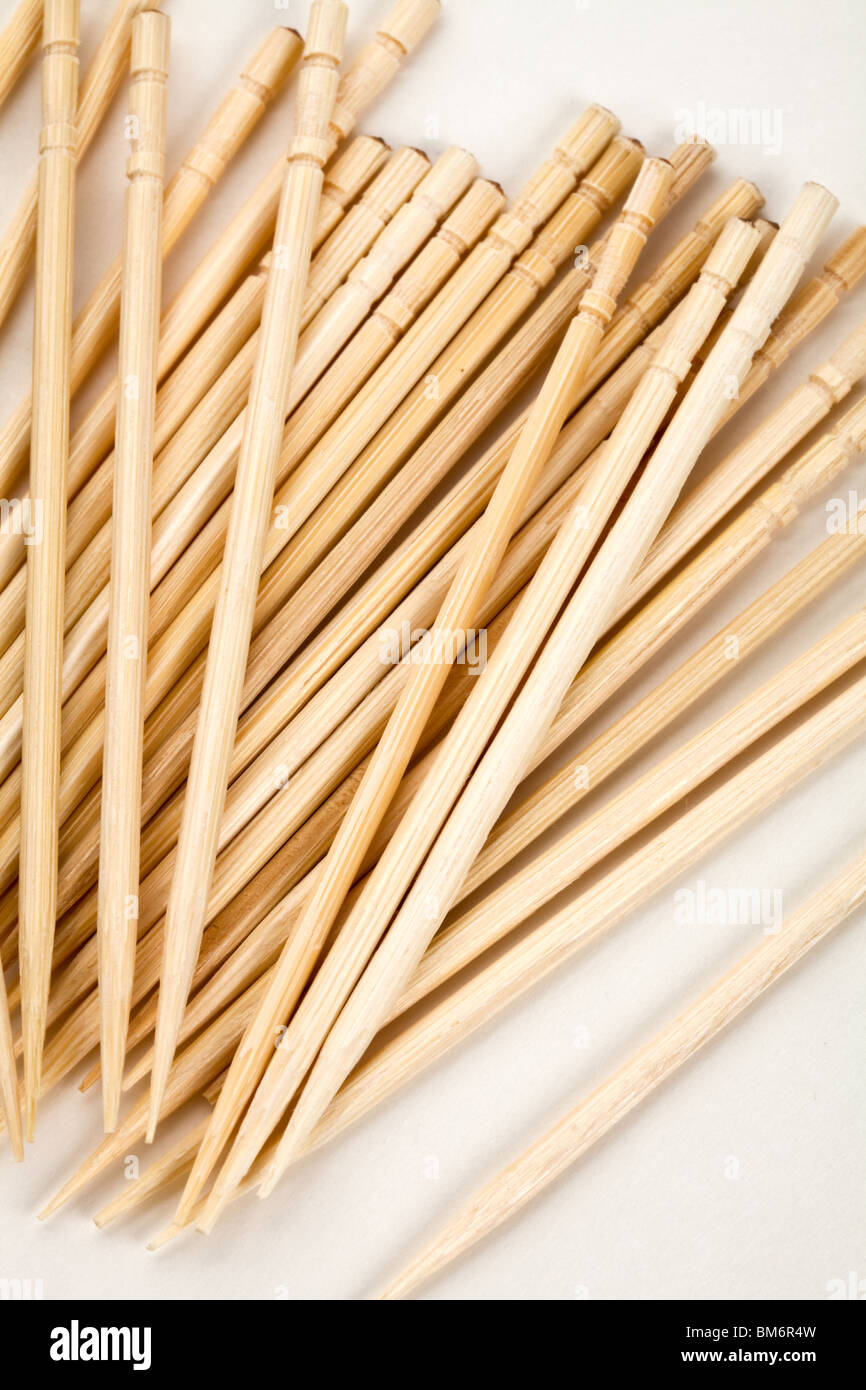 Toothpick with white background close up shot - Stock Image