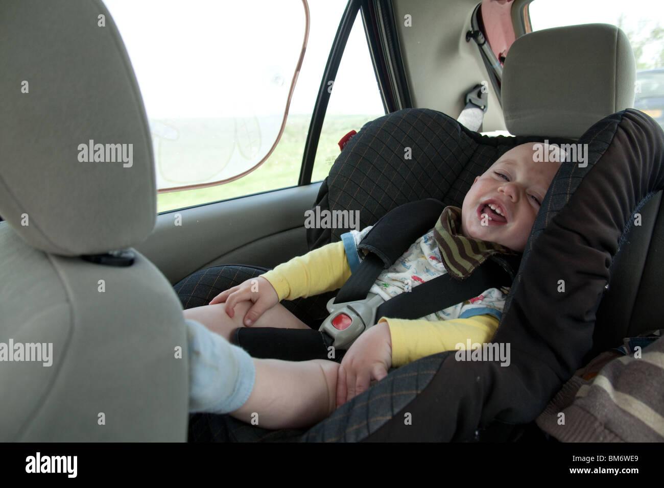 One Year Old Baby Boy In A Car Seat Hampshire England United Kingdom