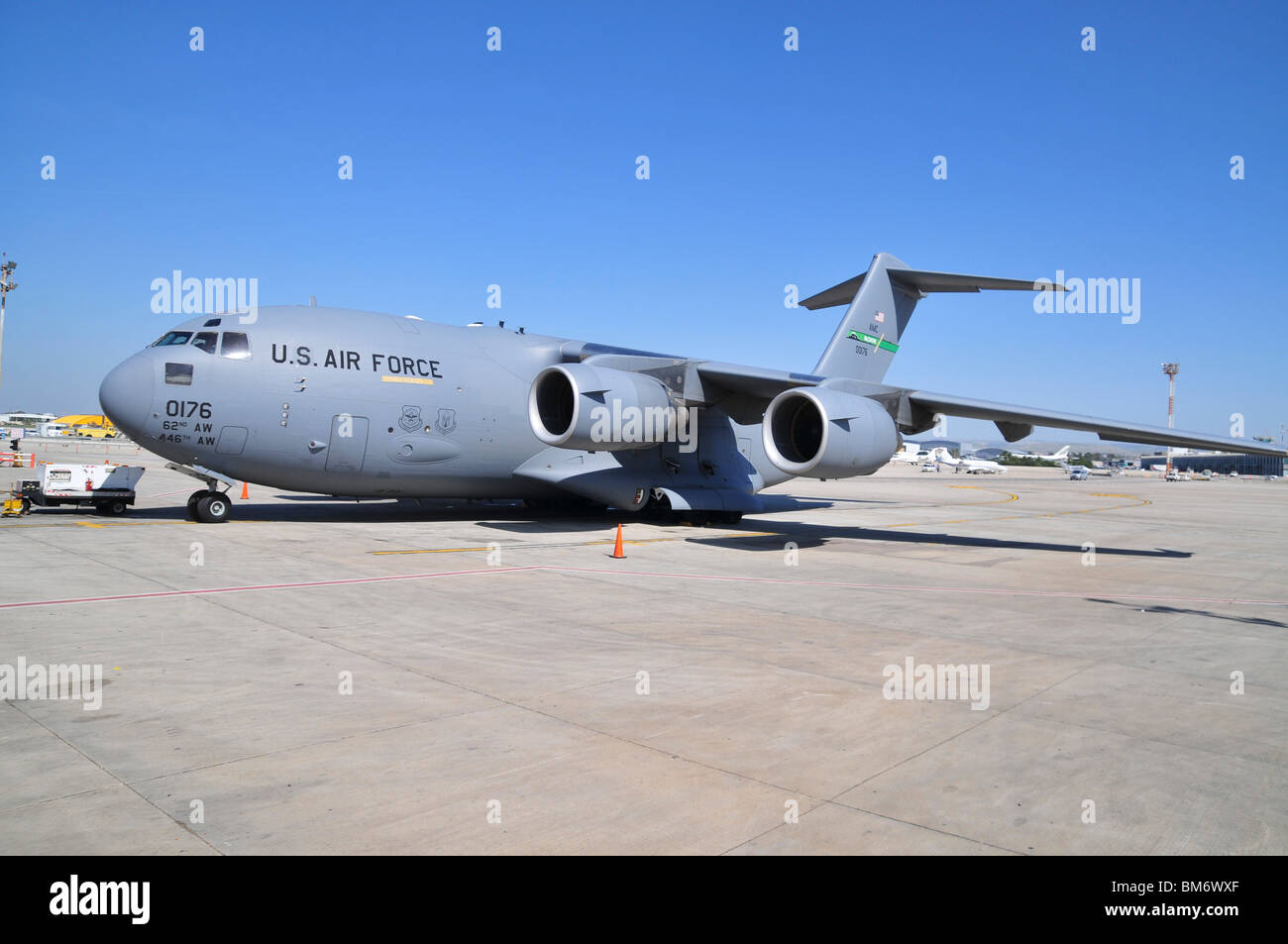 US Air Force Boeing (formerly McDonnell Douglas) C-17 Globemaster III a large military transport aircraft. - Stock Image