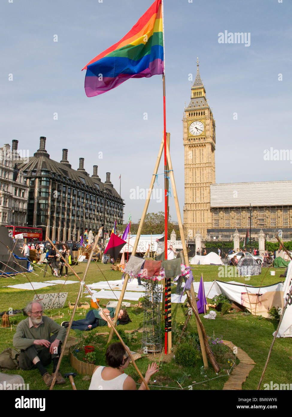 Peace camp of tents and banners set up by various activist groups in Parliament Square London May 2010 Stock Photo