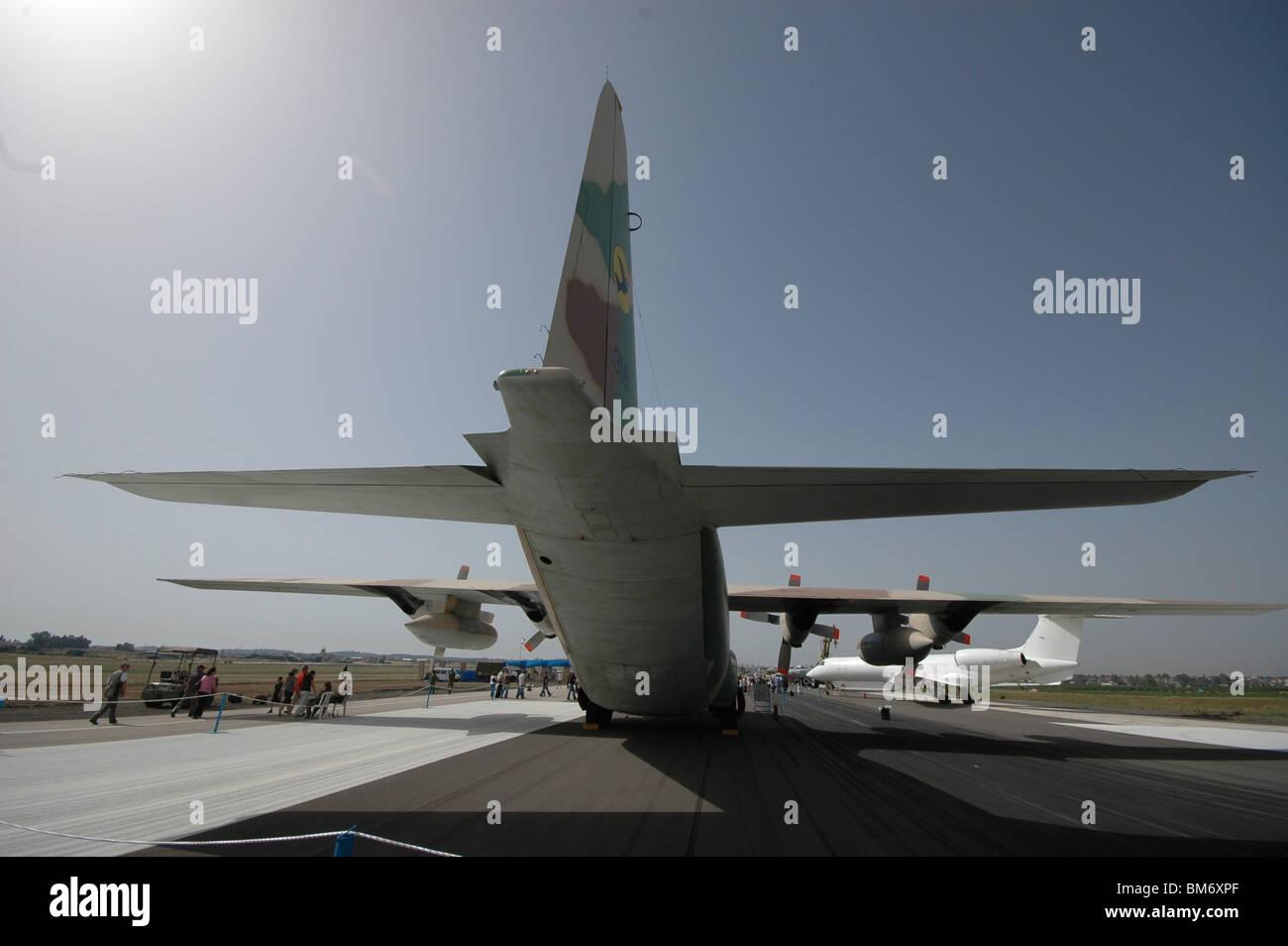 Israel, Tel Nof IAF Base  An Israeli Air force (IAF) exhibition. C-130 Hercules 100 transport plane on the ground - Stock Image