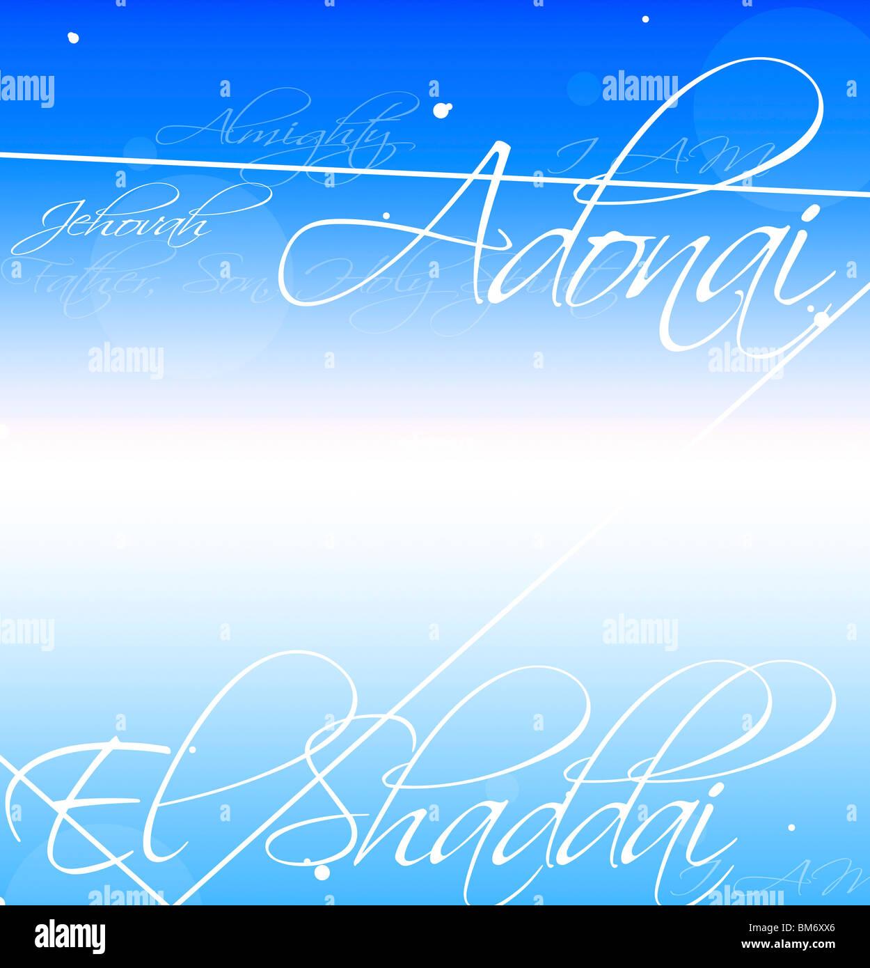Decorative Writing Of Names For God (Adonai, El Shaddai, Jehovah) - Stock Image