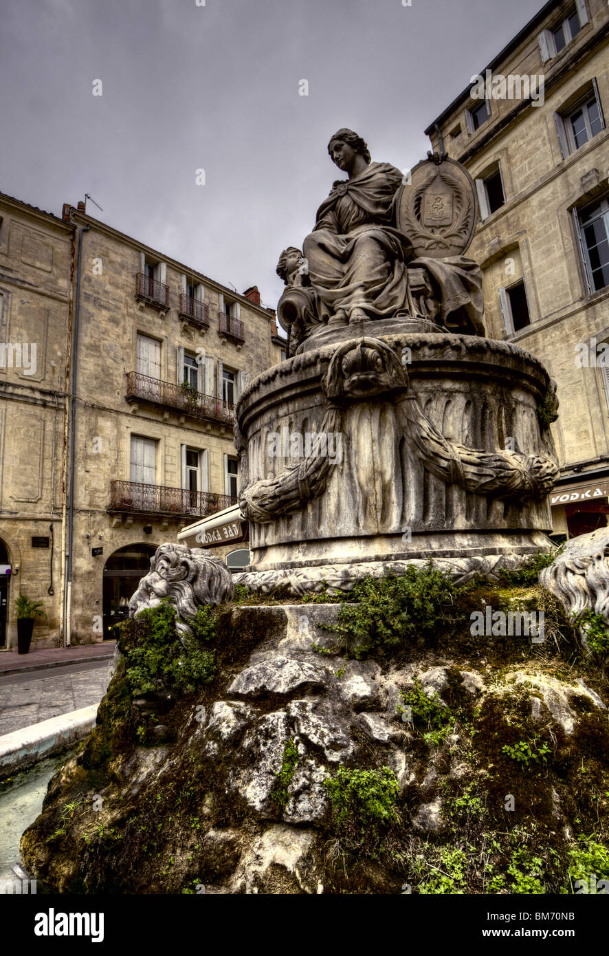 Ancient statue-fountain in Montpellier, France - Stock Image