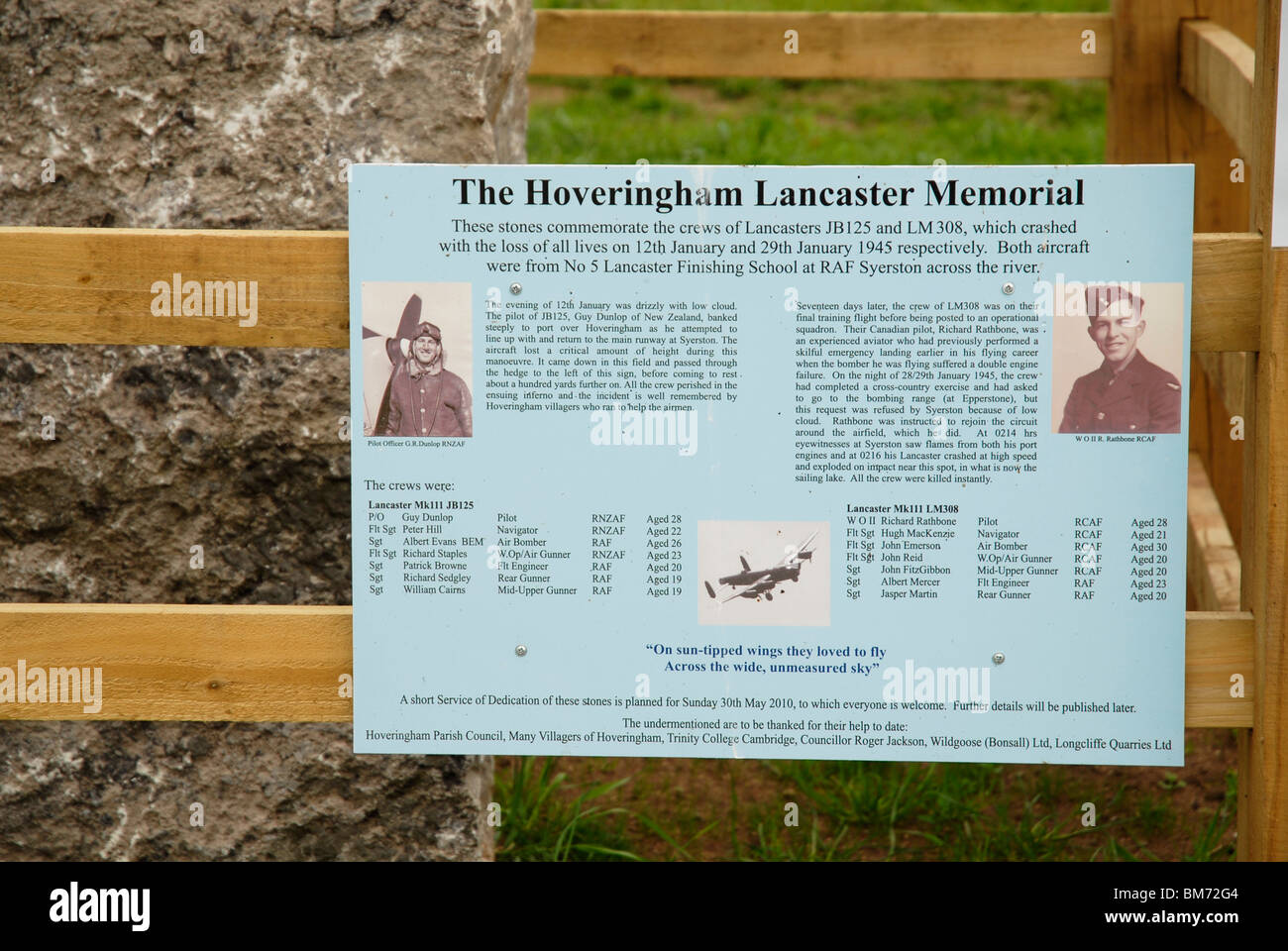 The memorial which marks the spot at Hoveringham Pastures, Notts., where two Lancaster bombers crashed during WWII - Stock Image