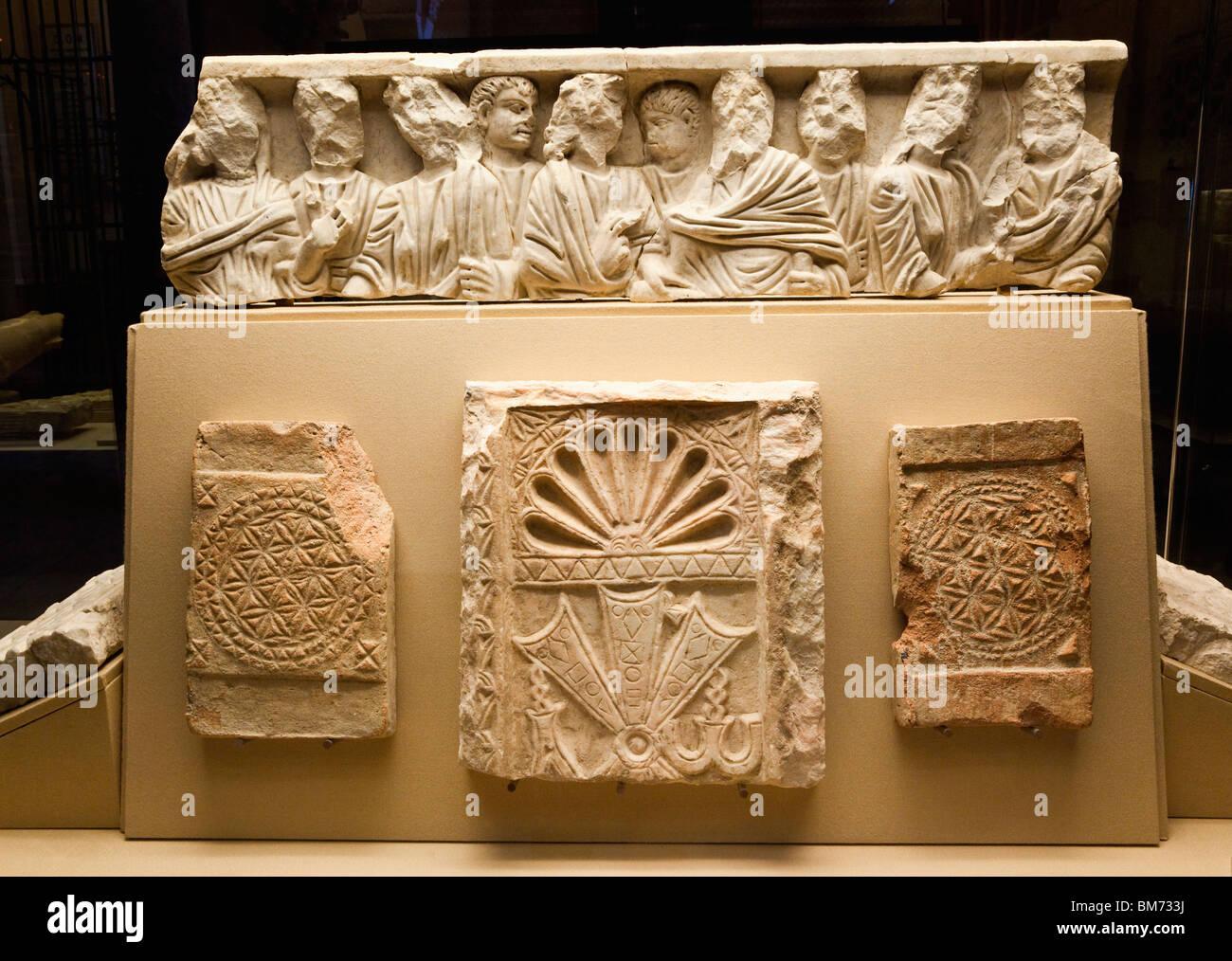 Fragments of Visigothic stonework, Cordoba, Spain.  SEE DESCRIPTION FOR DETAILS. - Stock Image