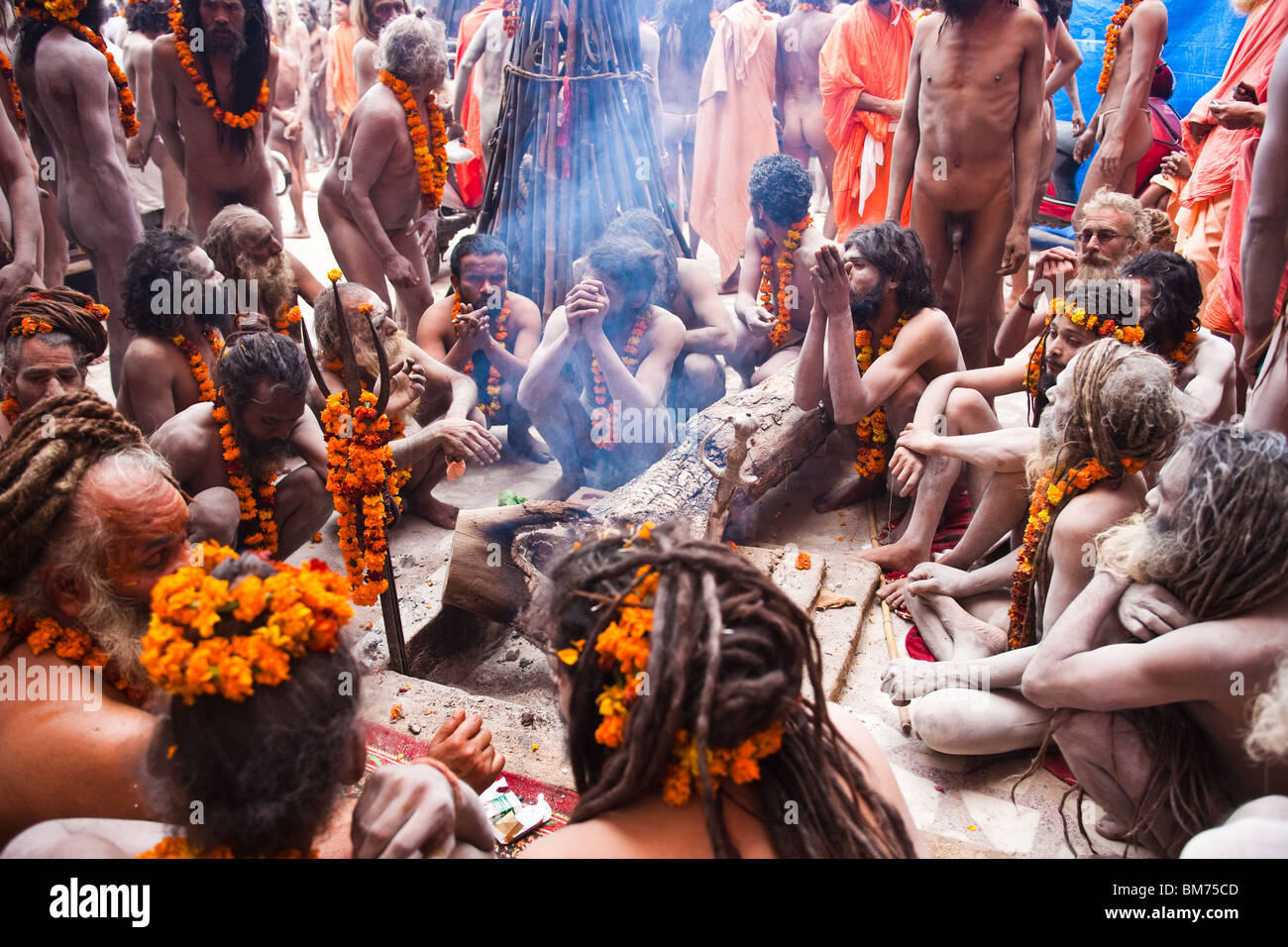 Naga Sadus during the Haridwar Kumbh mela 2010. India - Stock Image
