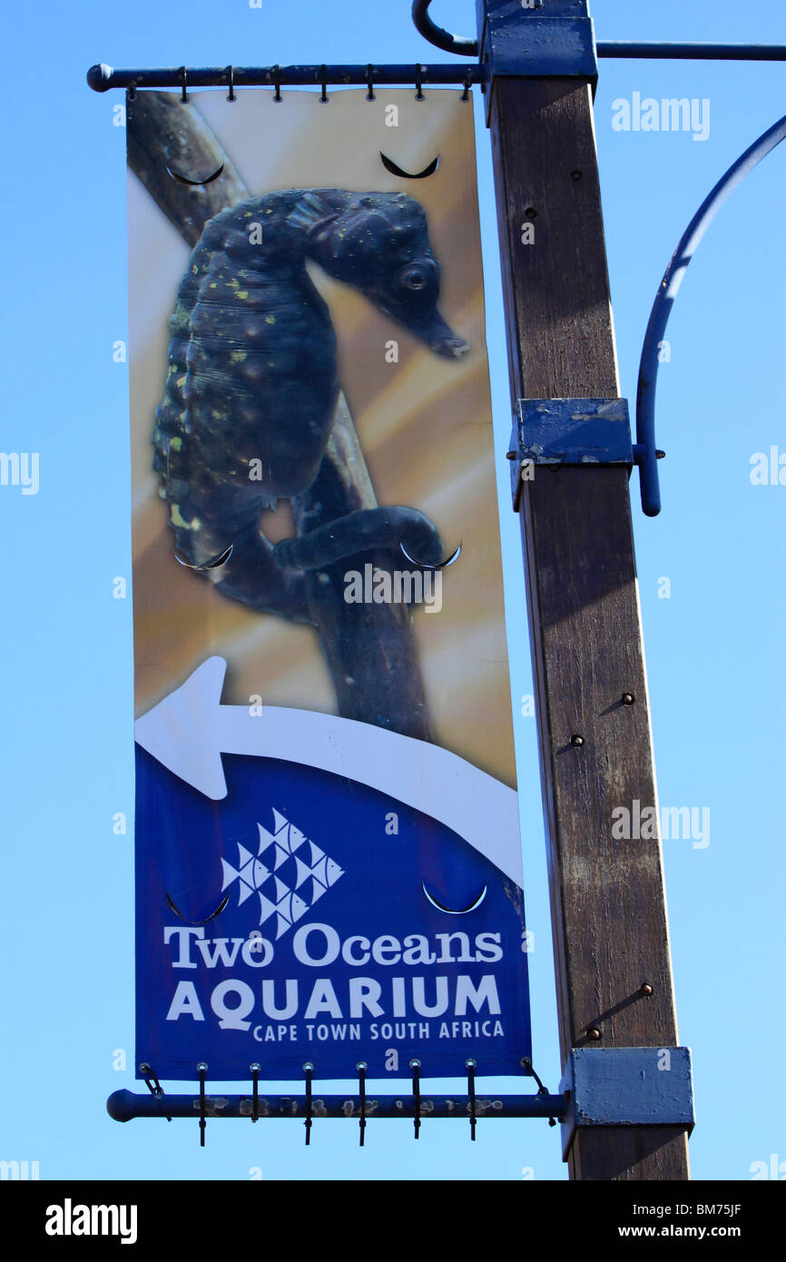 Banner advertising Two Oceans Aquarium at V&A Waterfront, Cape Town, South Africa. - Stock Image