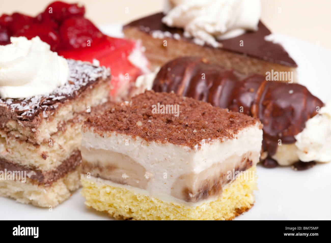 Various cakes, sweet and delicious - Stock Image