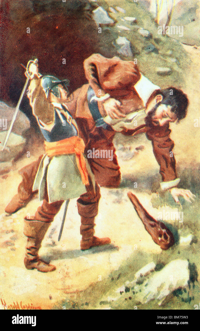 Colour Illustration The Death of Giant Maul from John Bunyan's Pilgrim's Progress - Stock Image