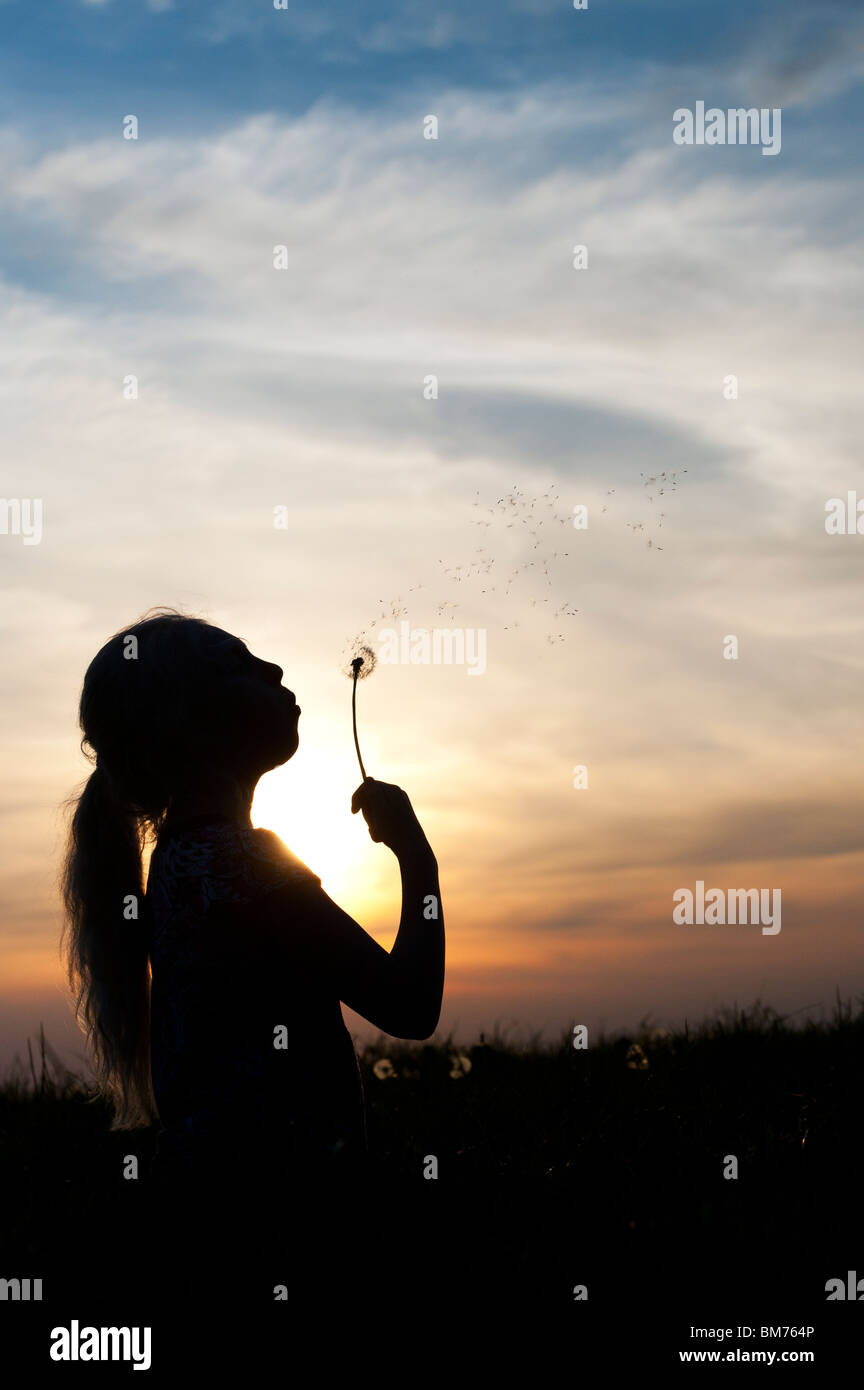 Silhouette of a young girl blowing dandelion seed head at sunset. - Stock Image