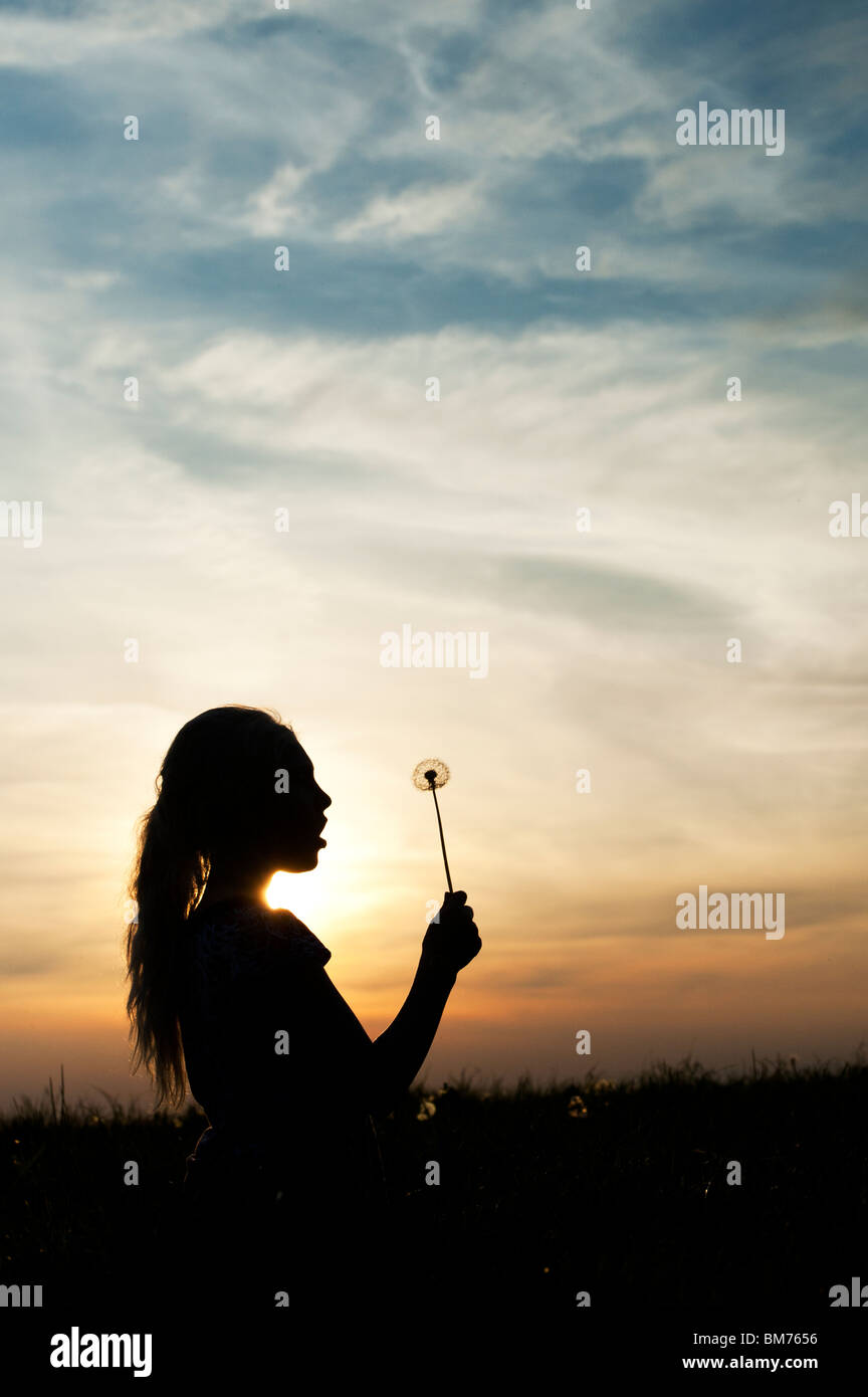 Silhouette of a young girl holding dandelion seed head at sunset. - Stock Image