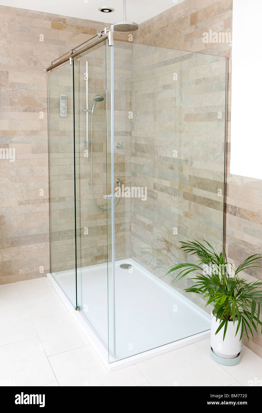 Glass Wall Shower Area In Luxury Bathroom