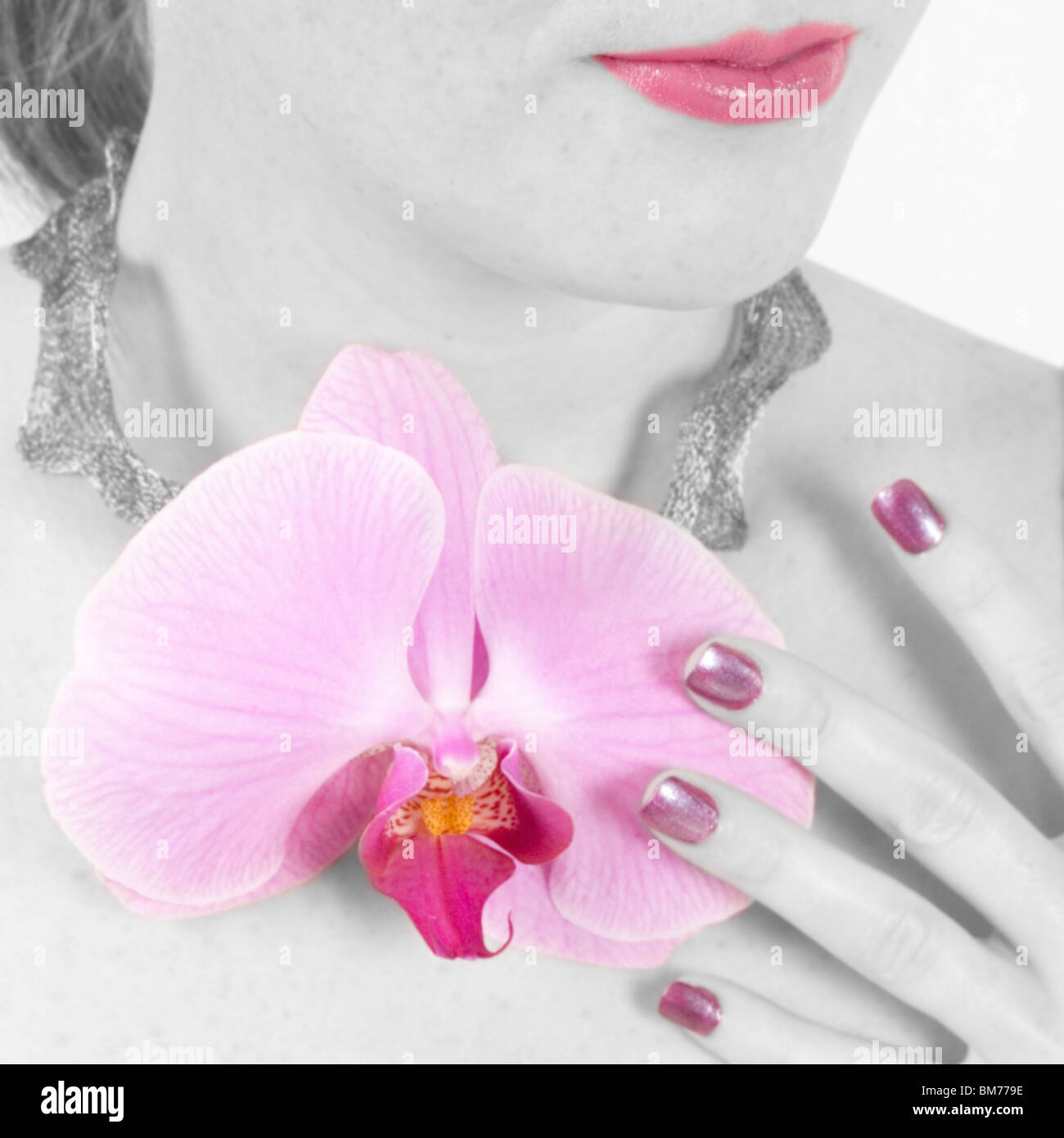 Natural Orchid Necklace - Stock Image