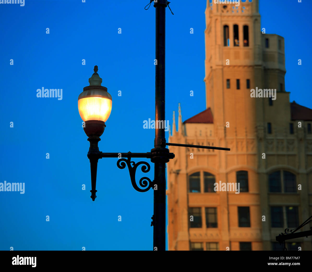 Jackson Building on Pack's Square with street light, street lamp, in downtown Asheville North Carolina NC US - Stock Image