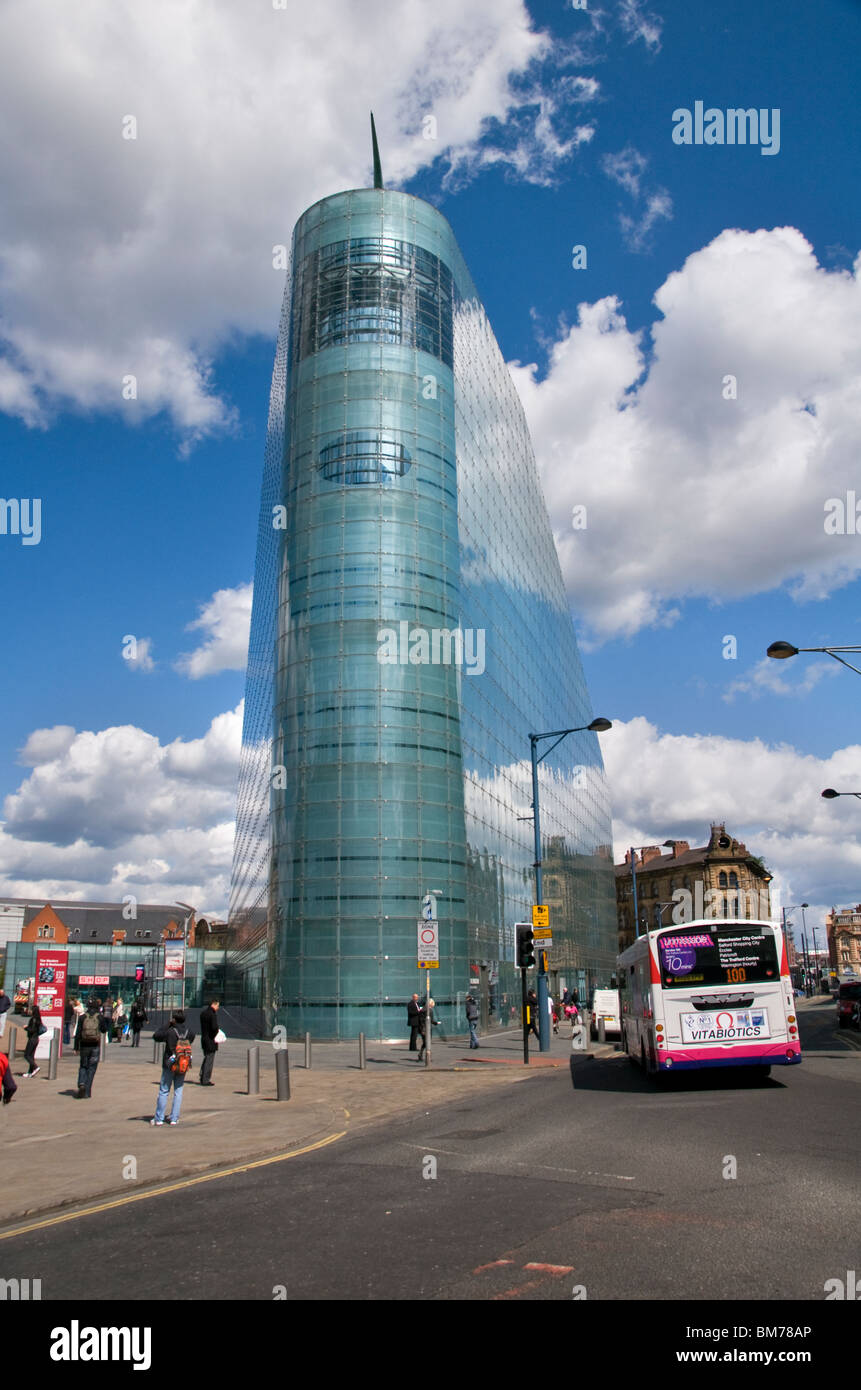 The Urbis building in Manchester city center, England, UK, home to the National Football Museum - Stock Image