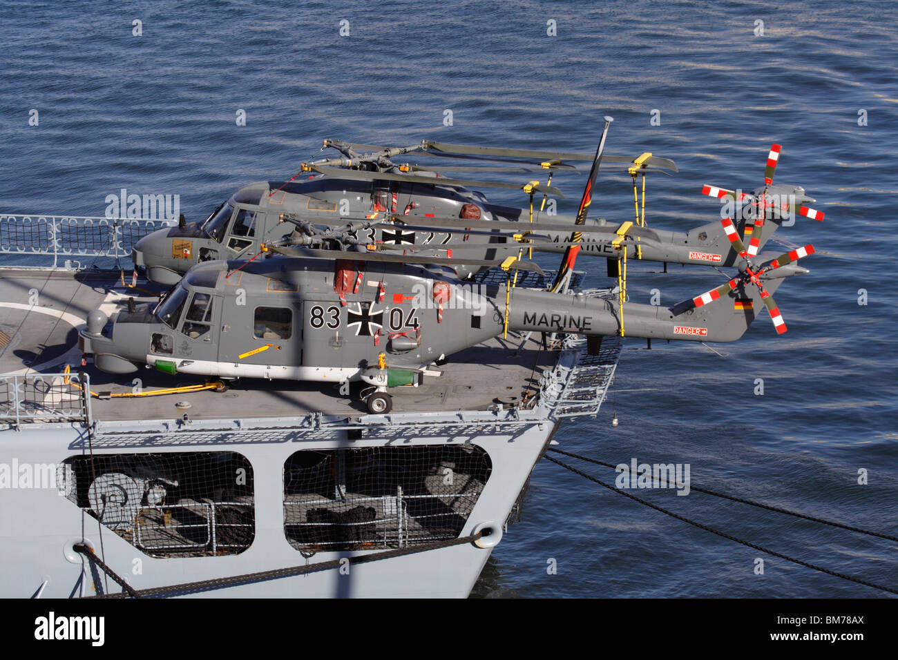 German Navy Super Lynx Mk88A military helicopters on board the frigate Augsburg - Stock Image