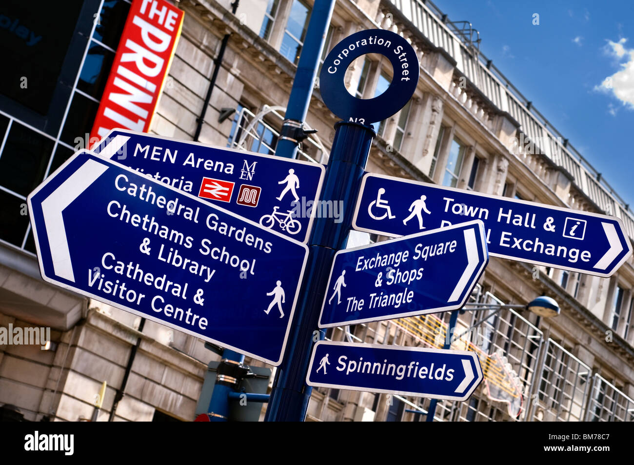 Signs for pedestrians on Corporation Street in Manchester city centre, England, UK - Stock Image