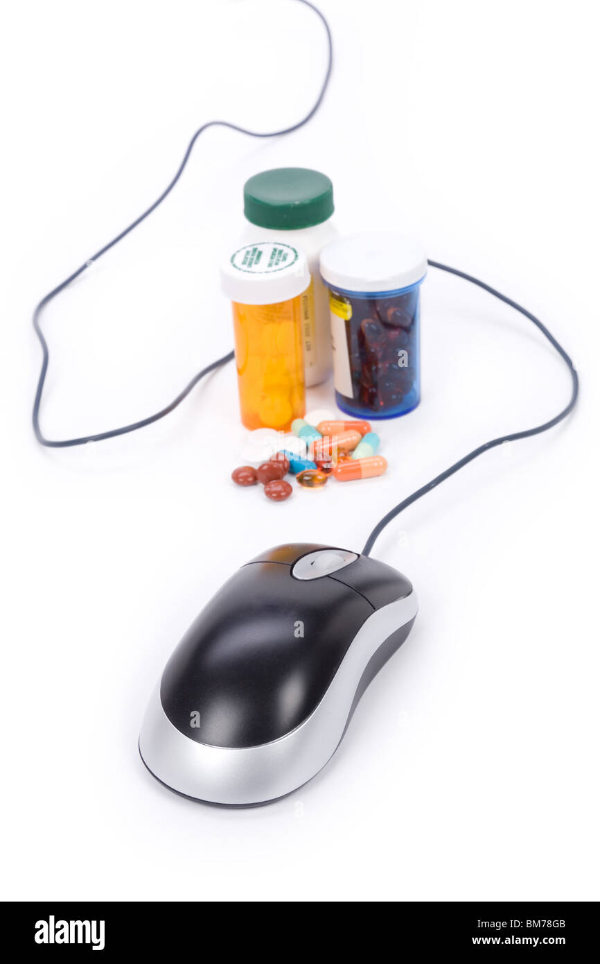 Medicine And Computer Mouse Concept Of Online Pharmacy Stock Photo Diagram Part In This