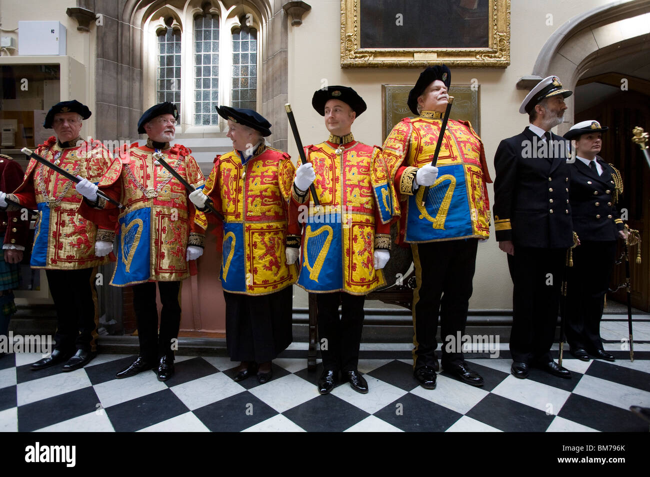 Members of the official procession line up during The General Assembly of the Church of Scotland 2010. - Stock Image