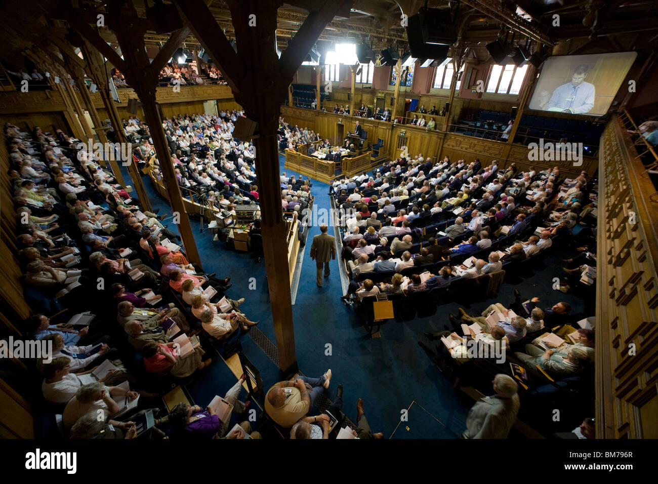 Inside Assembly Hall during a session of The General Assembly of the Church of Scotland 2010. - Stock Image