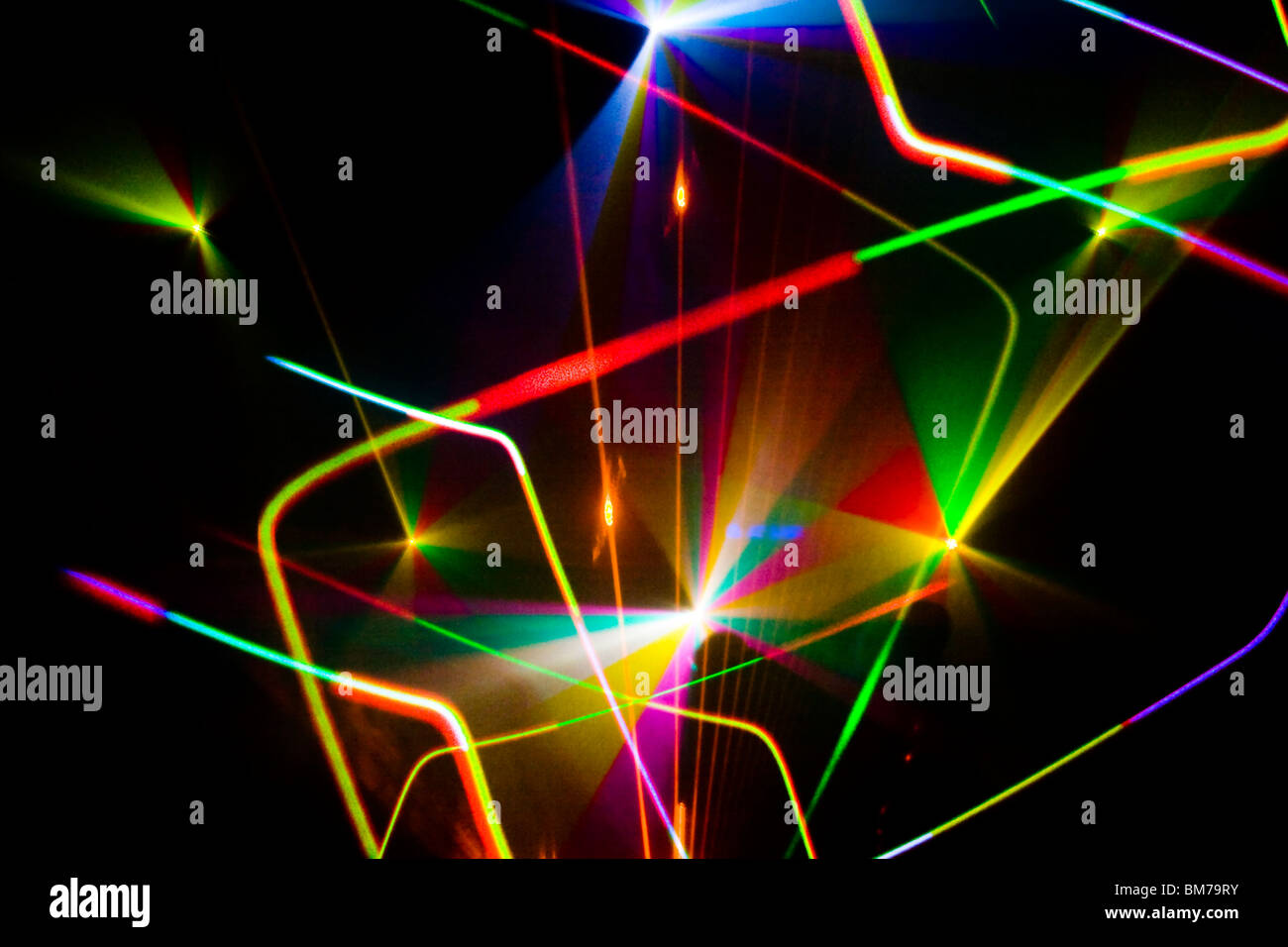 Colourful Disco with special effects and fantastic laser show - Stock Image