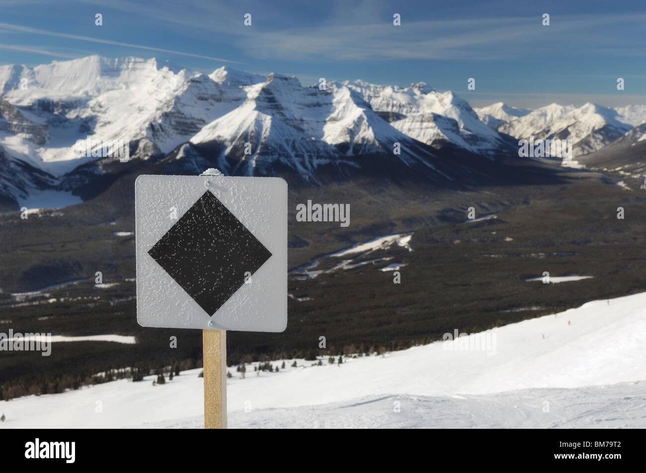 black diamond run at lake louise ski resort - banff national park