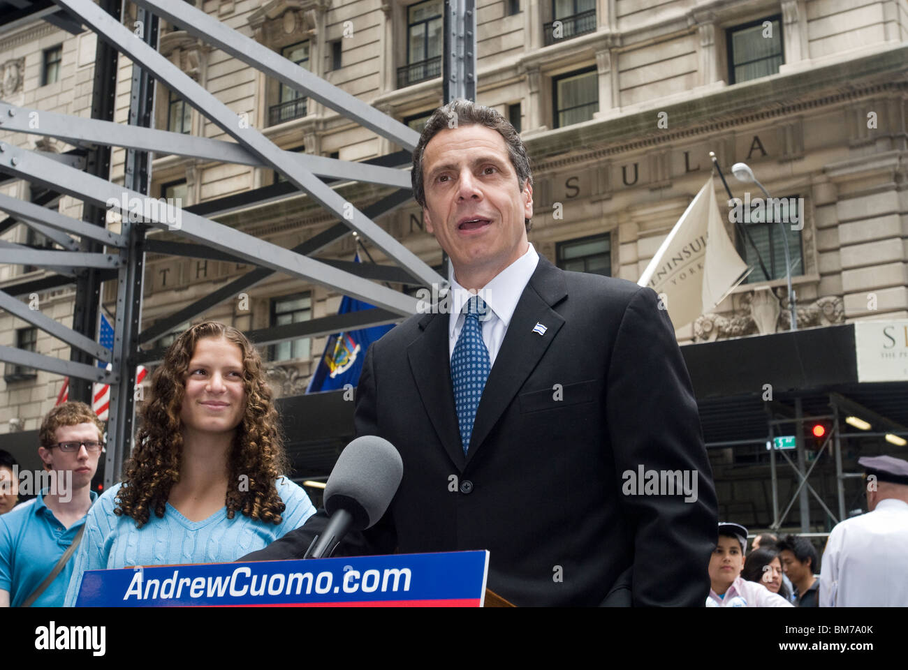 NYS Attorney General Andrew Cuomo speaks to the press prior to marching in the Salute to to Israel parade in New - Stock Image