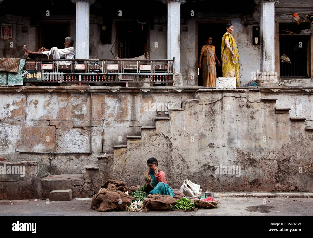 The old town in Ahmedabad, Gujurat India - Stock Image