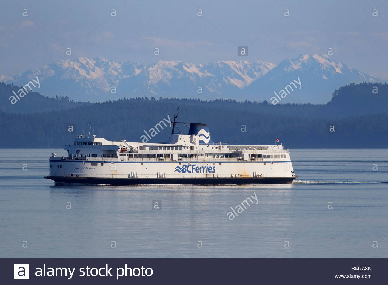 The BC Ferries vessel Queen of Nanaimo crosses the Strait of Georgia between mainland Canada and Vancouver Island. - Stock Image