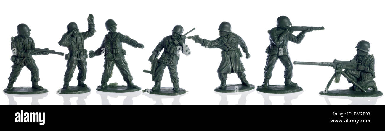 colection of american second world war toy soldiers on white - Stock Image