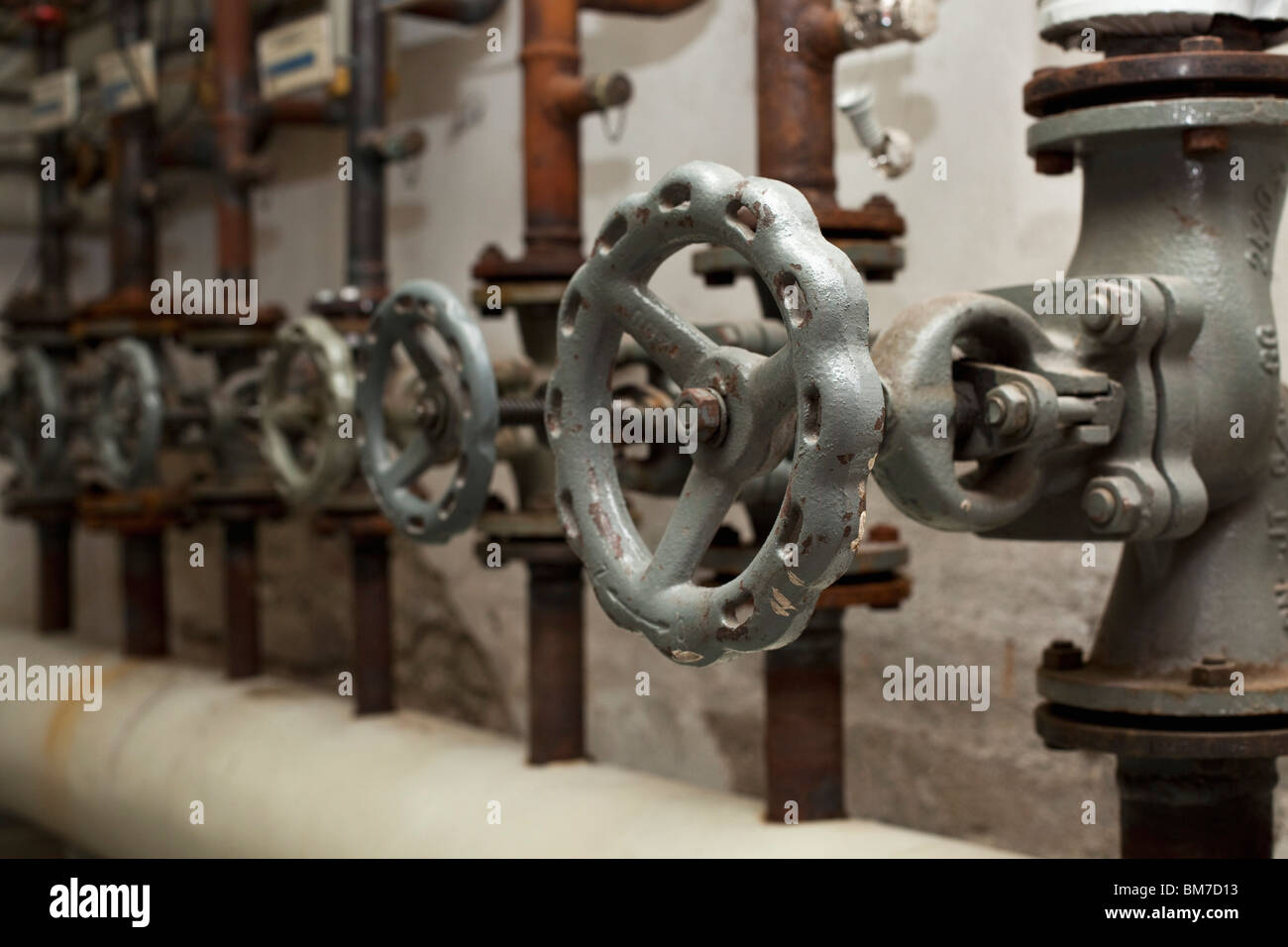 Detail of valves and pipes - Stock Image