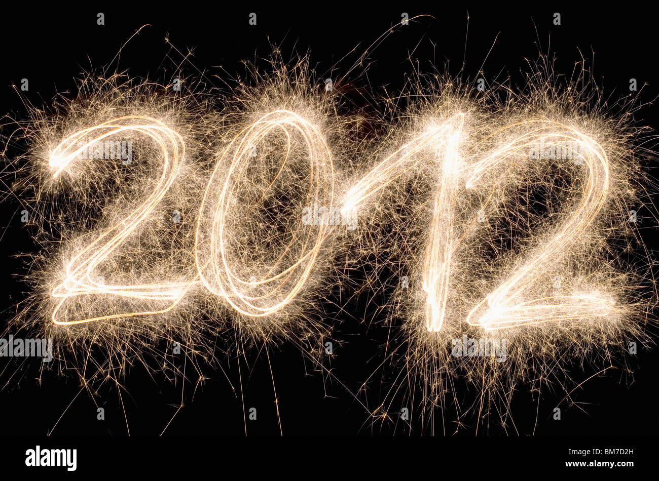 2012 written with a sparkler - Stock Image