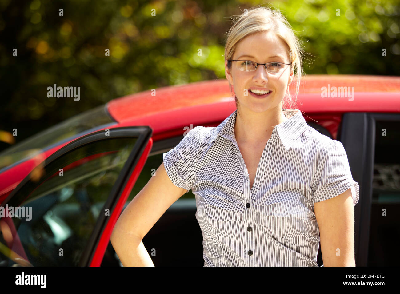 Girl going to work - Stock Image