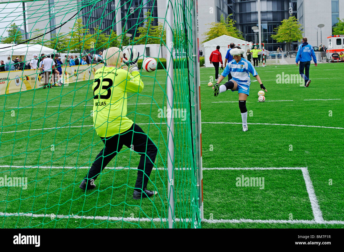 First international match of the German blind footballing team outside the Reichstag building, Berlin, Germany - Stock Image