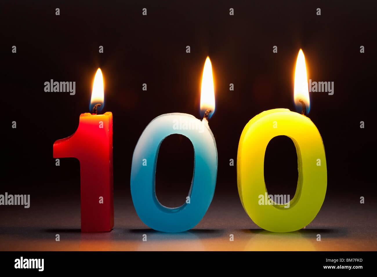 Three Candles In The Shape Of The Number 100 - Stock Image