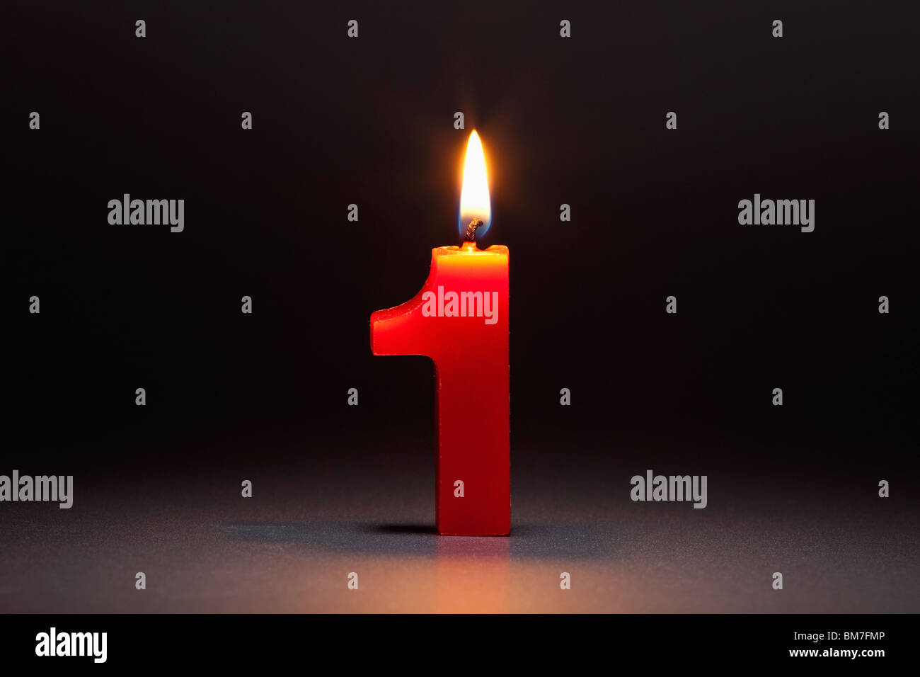 One Candle In The Shape Of The Number 1 - Stock Image