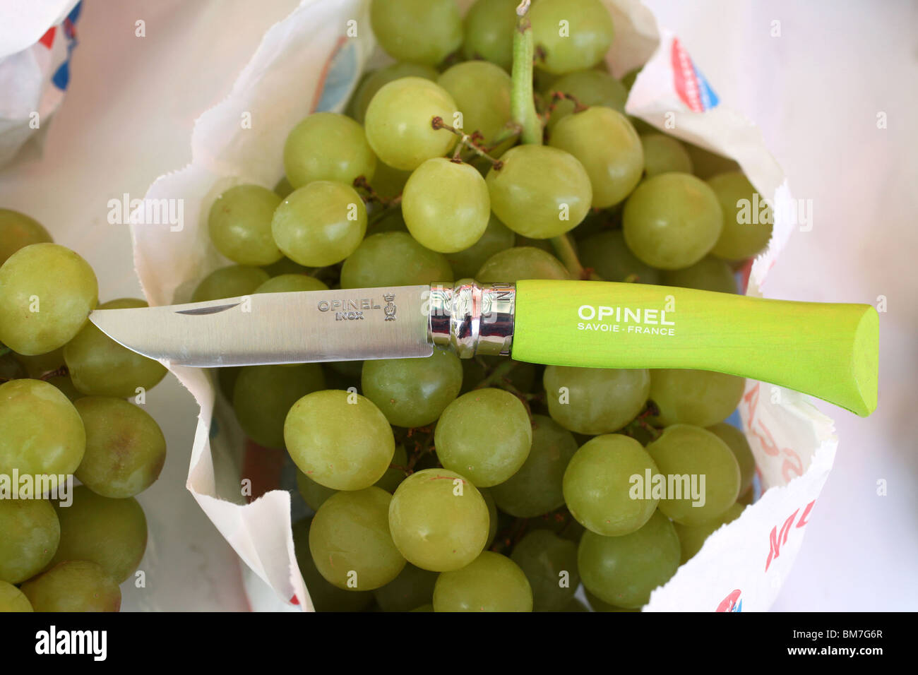 Opinel knife on grapes - Stock Image