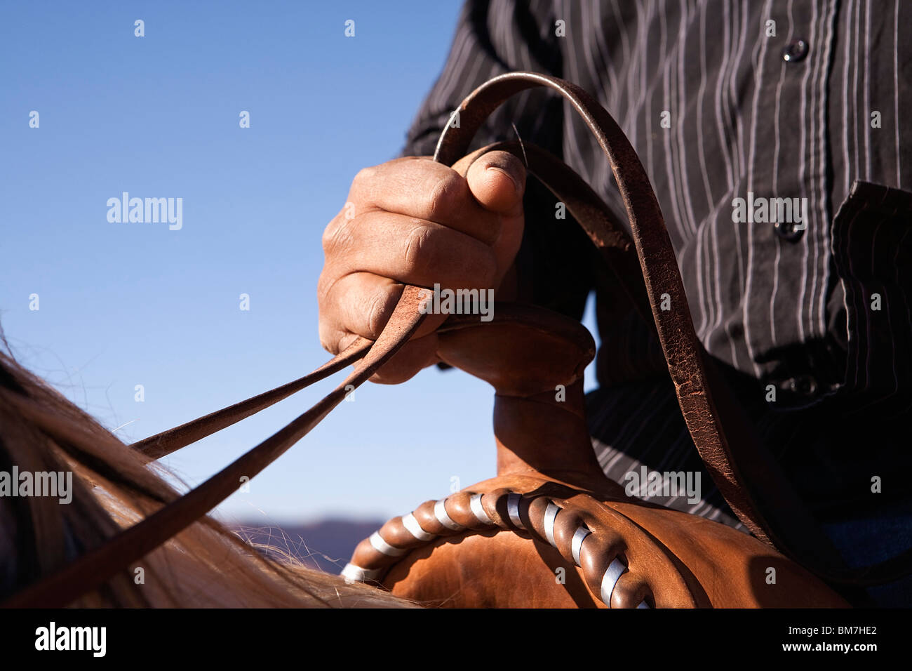 Man holding the reins of horse, close-up, focus on hand Stock Photo